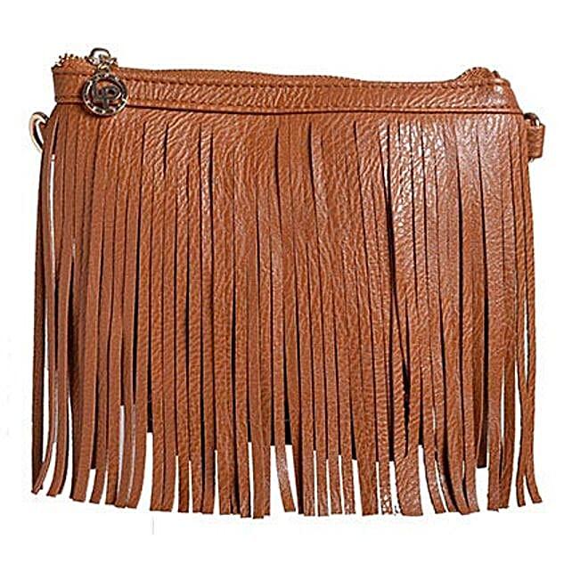 Lino Perros Brown Fringe Sling Bag: Sling Bags for Women