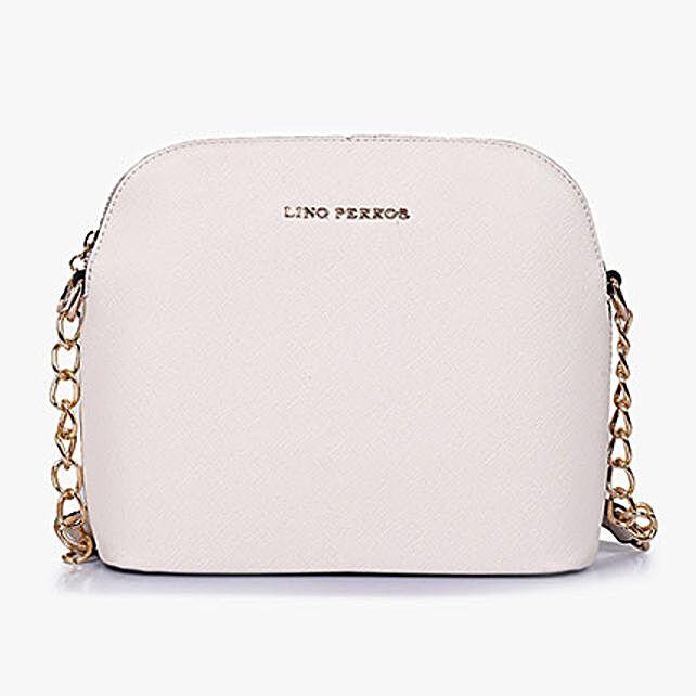 Lino Perros White Solid Sling Bag: Sling Bags for Women