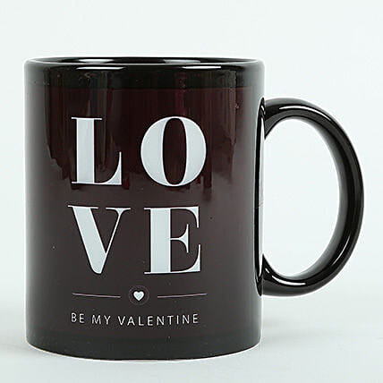 Love Ceramic Black Mug: Send Gifts To Chanakya Puri