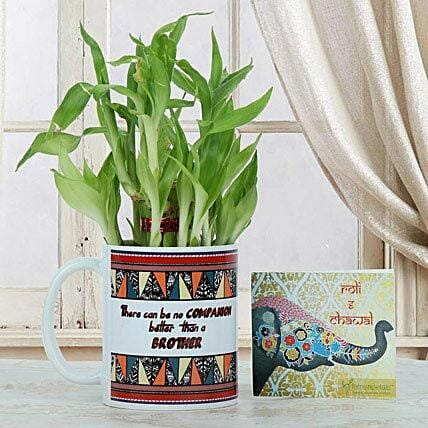 Lucky Bamboo N Mug: Bhai Tika Gifts for Bhai Dooj