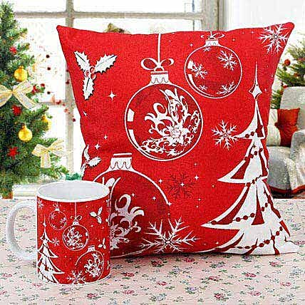 Merry Christmas Cushion with Mug: Christmas Gifts for Her