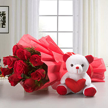10 Red Roses Bouquet & Teddy Bear Combo: Teddy Day Gifts