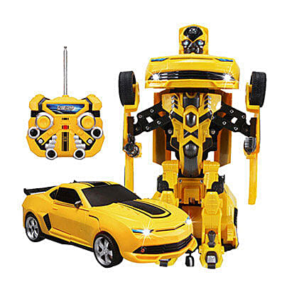 One Button Transforming Car Yellow: Kids Toys & Games