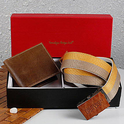 Paradigm Brown Wallet N Belt Combo: Fashion Accessories