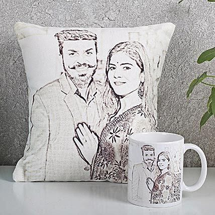 Personalized Couple Cushion N Mug Combo: Personalised Caricatures