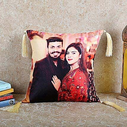 Personalized Happy Cushion: Gifts for Bhaiya Bhabhi