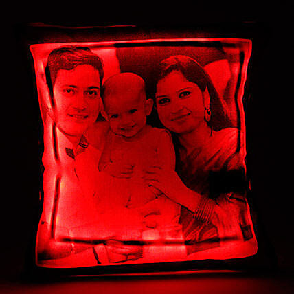 Personalized LED Cushion Red: New Born Baby Gifts