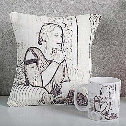 Personalized Sketch Cushion N Mug Combo: Personalised Mugs
