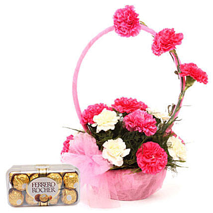 Pink N White Basket Of Flavours: Buy Return Gifts
