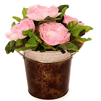 Pink Roses In A Metal Basket: Artificial Flowers
