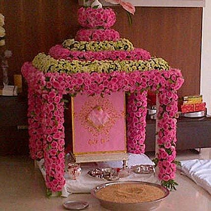 Radiant Ganpati Temple Decoration: Flower Decorations