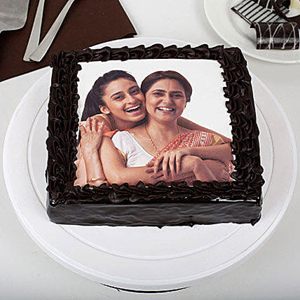 Rich Chocolate Mothers Day Photo Cake: Photo Cakes
