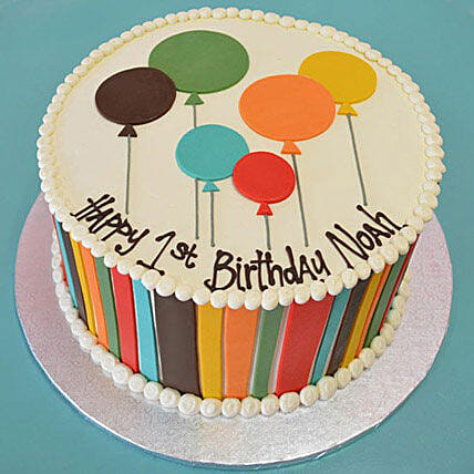 Shades Of Balloons Cake: Cakes for 1st Birthday