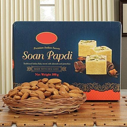 Soan N Almond Hamper: Sweets & Dry Fruits for Bhai Dooj