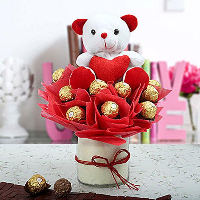 Ferrero Rocher & Teddy Bear Arrangement: Send Soft Toys