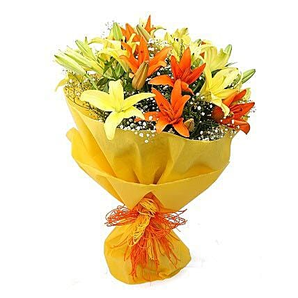 Vibrant Lilies Bouquet: Send Anniversary Flowers for Him