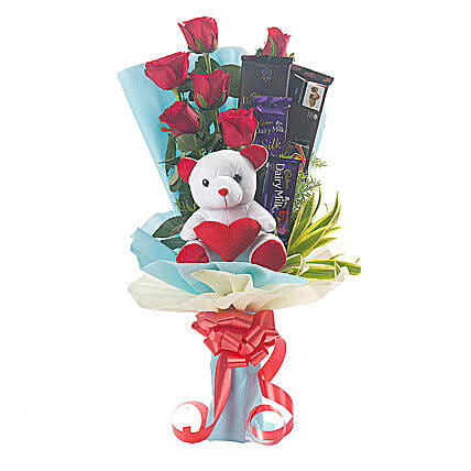 Roses, Teddy Bear & Chocolates Bouquet: Soft Toys for Birthday