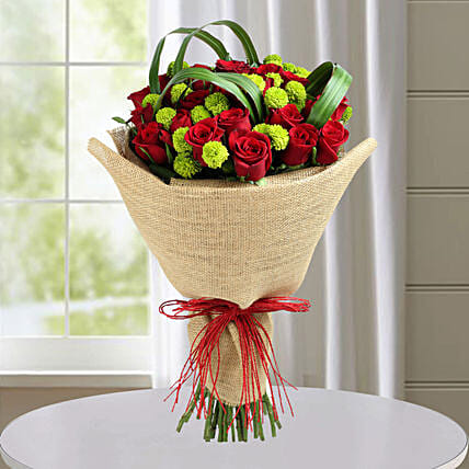 Classic Red Roses Hand Tied Bouquet: