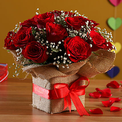 Exotic Red Roses Arrangement: Flowers for Parents