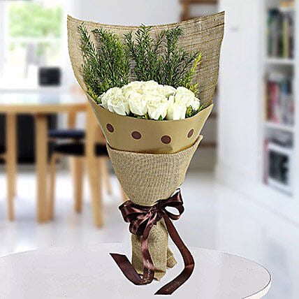 Fresh White Roses Bunch: Doctors Day Gifts