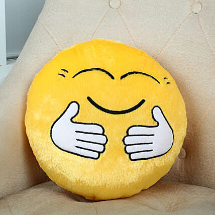 Hugging Smiley Cushion Yellow: Best Gifts to India