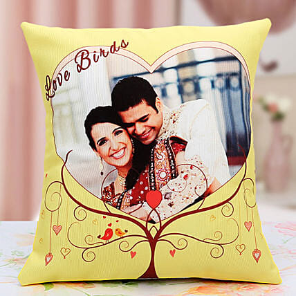 Lovebirds Personalized Cushion: Send Personalised Cushions for Him
