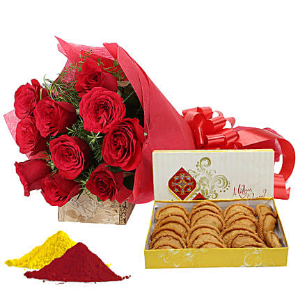 Special Holi Hamper: Flowers & Sweets for Holi