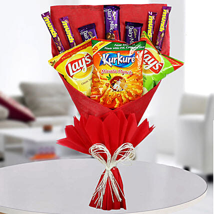Chocolates & Snacks Bouquet: Chocolate Delivery in Delhi