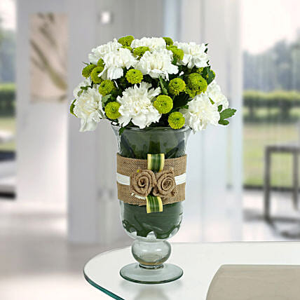 White Carnations Arrangement: Best Gifts to India