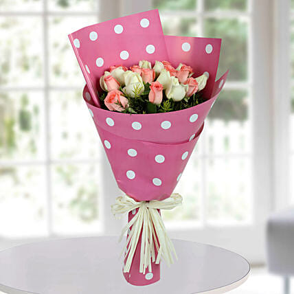 White N Pink Roses Bunch: Mixed Colour Flowers