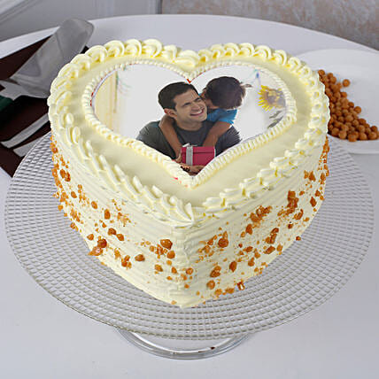 Fathers Day Butterscotch Heart Shaped Cake: Send Photo Cakes