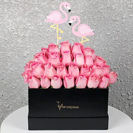 Graceful Pink Roses in a Box: Exotic Rose Arrangements