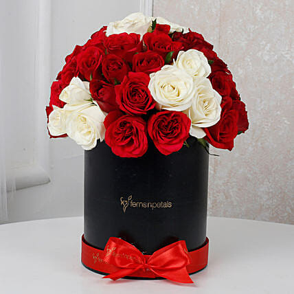 White & Red Roses Box Arrangement: Flowers for Parents