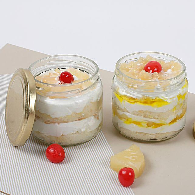Set of 2 Sumptuous Pineapple Jar Cake: Eggless Cakes to Chennai