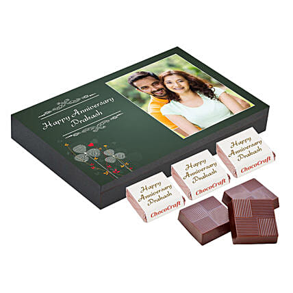 Personalised Anniversary Chocolate Box- Green: Personalised Chocolates for Wife