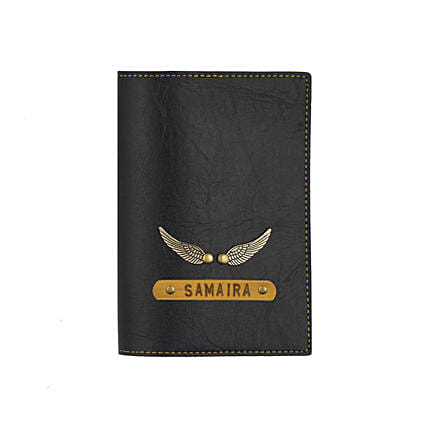 Leather Finish Passport Cover Black: Send Personalised Gifts for Friend