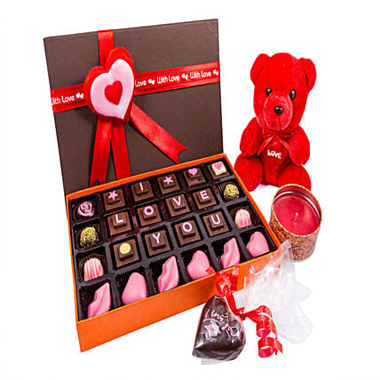 Teddy And Candle With I LOVE U Chocolates 24: Soft Toys Gifts