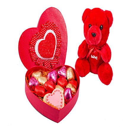 Teddy And Heart Shaped Box Of Chocolates 18: Send Soft Toys