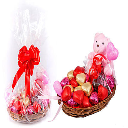 Teddy & 18 Heart Shaped Chocolates: Soft Toys for Birthday