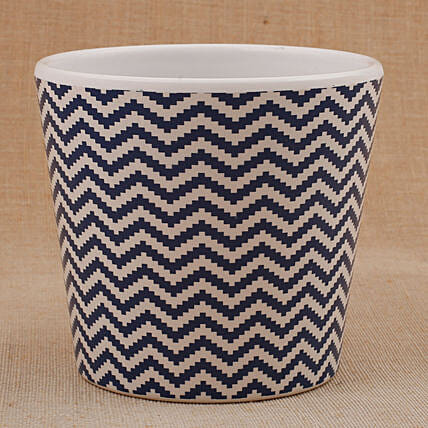 Melamine White And Blue Printed Vase: Pots and Planters