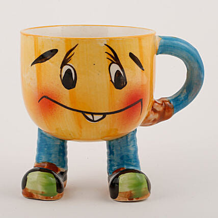 Smiley Mug Ceramic Vase Yellow: Pots and Planters