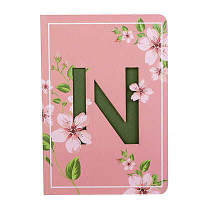 Flowery Doodle Initial Diary: Personalised Stationery