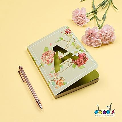 Floral Design Doodle Initial Diary: Personalised Stationery