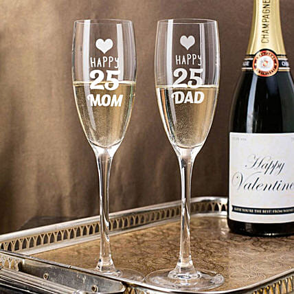 Personalised Set Of 2 Champagne Glasses 2898: Bar Accessories