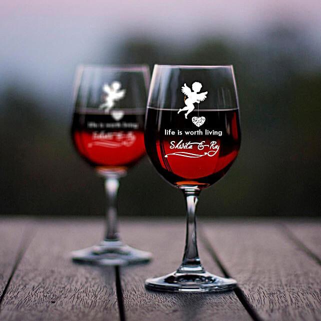 Personalised Set Of 2 Wine Glasses 1025: