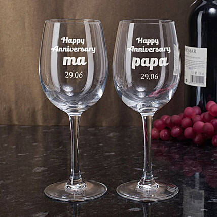Personalised Set Of 2 Wine Glasses 2899: Personalised Gifts for Parents