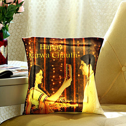 Personalised Karwa Chauth Special LED Cushion: Send Karwa Chauth Personalised Gifts