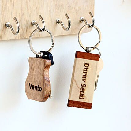 Engraved Personalised Wooden Key Chains Set of 2: Personalised Key Chains