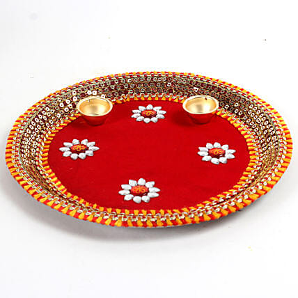 Decorated Red Floral Steel Thali: Pooja Thali