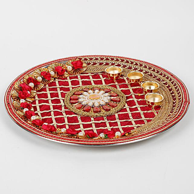 Decorative Karwa Chauth Maroon Steel Thali: Chhath Puja Gifts